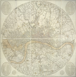 Bowles's new plan of London, Westminster and Southwark with their environs to the extent of three miles round St. Paul's
